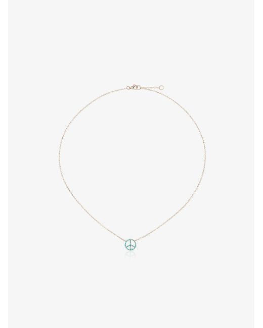 Rosa De La Cruz - Metallic 18k Gold Necklace With Turquoise Peace Pendant - Lyst
