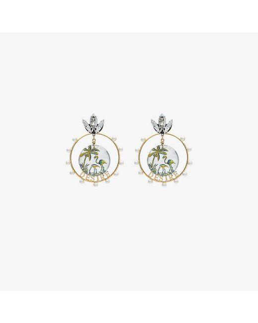 Anton Heunis - Gold Metallic, White And Green Desire Swarovski Crystal Earrings - Lyst