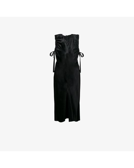 Helmut Lang | Black Sleeveless Ruched Midi Dress | Lyst