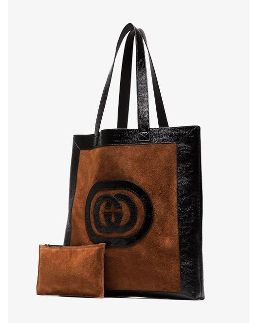 ddf3294d4d5d Lyst - Gucci Brown Ophidia Suede Large Tote in Brown