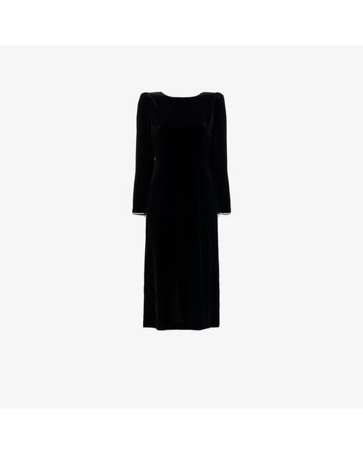 239f25589 Gucci - Black Crystal Embellished Open Back Silk Blend Velvet Dress - Lyst  ...