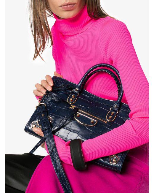Balenciaga Leather Colorblock Tote in Blue - Lyst