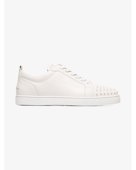2333d78008c ... Christian Louboutin - White Louis Junior Studded Leather Sneakers for  Men - Lyst ...