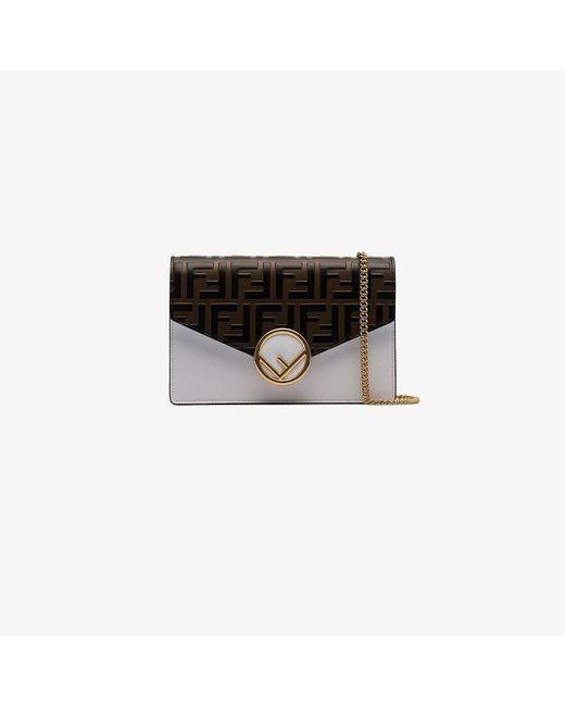 e500120eda20 Fendi - Multicolor White Flap Top Ff Print Leather Clutch Bag - Lyst ...