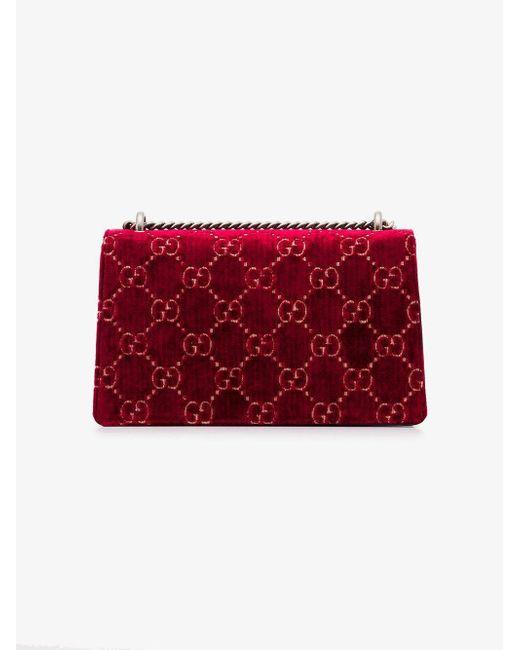 8b55667f3c2c ... Gucci - Red Dionysus GG Velvet Small Shoulder Bag - Lyst ...