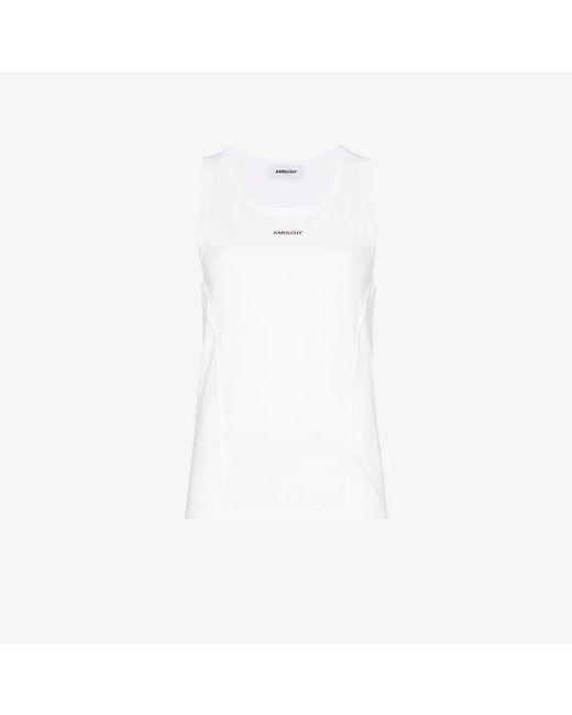 3b7fb4ad56f814 Ambush - White Waves Logo Print Sleeveless Cotton T-shirt - Lyst ...