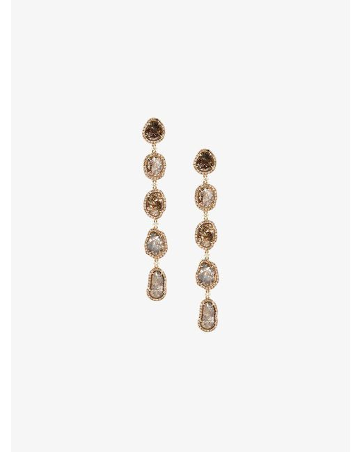 Saqqara - Metallic Long Sliced Diamond Drop Earrings - Lyst