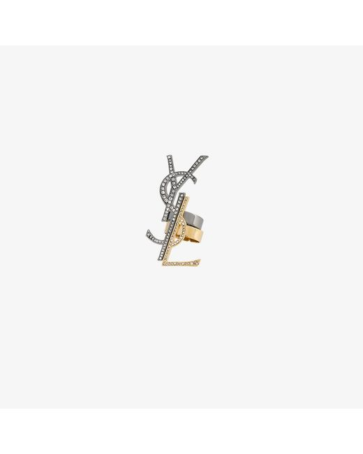 Saint Laurent | Metallic Anello A Set 'monogramme Destructure' | Lyst