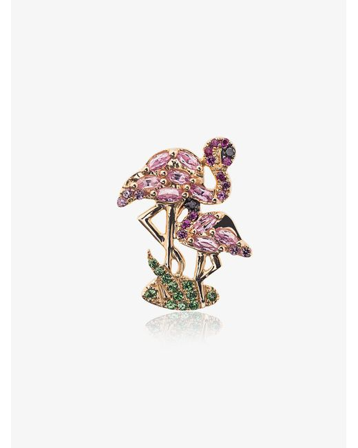 Yvonne Léon - Metallic 18k Gold Flamingo Earring With Gems - Lyst