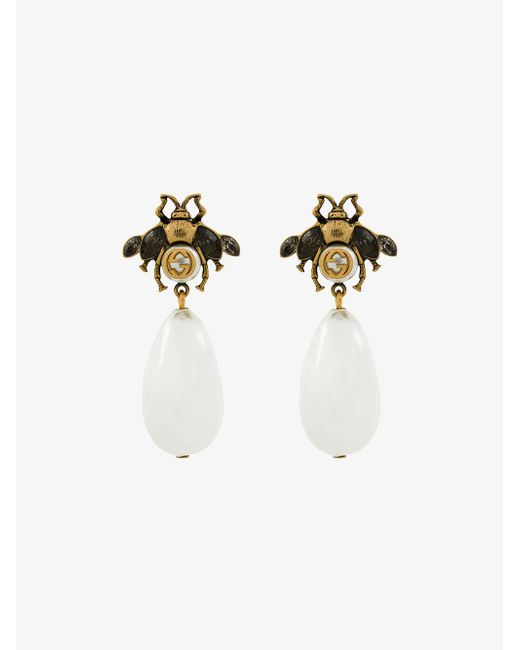 Gucci - Metallic Bee Drop Faux Pearl Earrings - Lyst