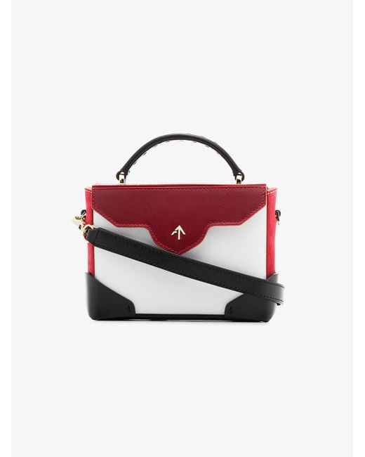 MANU Atelier - White, Red And Black Micro Bold Leather Cross-body Bag - Lyst