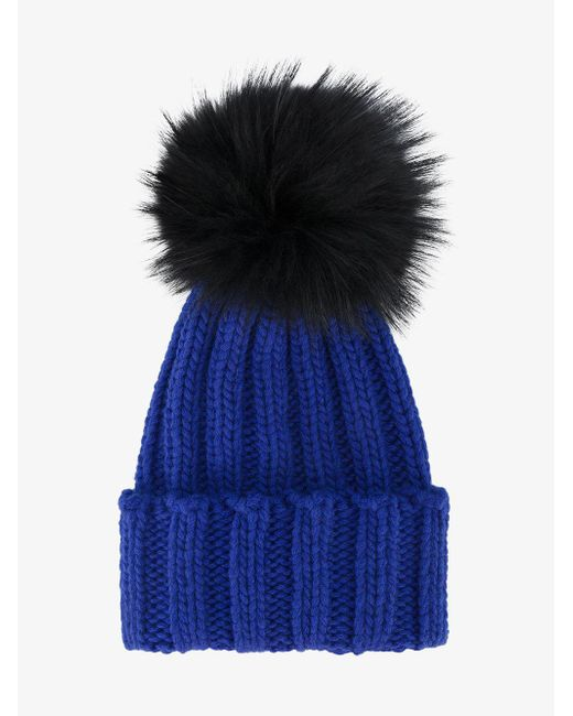 Inverni - Blue Ribbed Cashmere Hat With Fur Pom Pom - Lyst