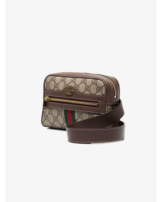 4a3f54d32e6 Gucci Brown Ophidia GG Supreme Small Belt Bag in Brown - Save 12% - Lyst