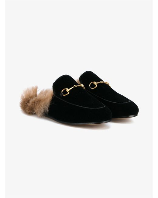 84ff130b084 Lyst - Gucci Ladies Brown Velvet Leather Princetown Slippers