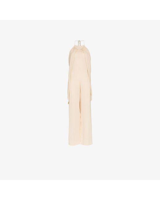 Jacquemus - Natural Halterneck Low Back Crepe Jumpsuit - Lyst