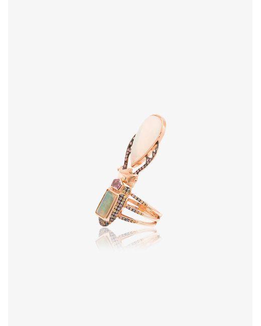 Daniela Villegas - Gray 18k Rose Gold Aurae Opal And Sapphire Ring - Lyst