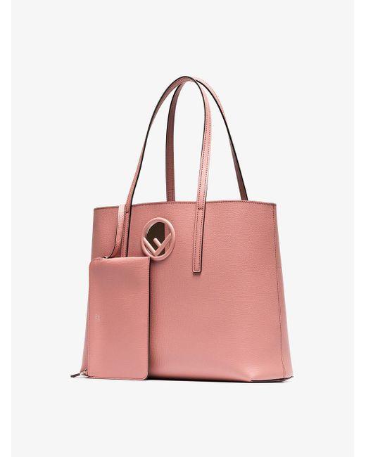 Lyst - Fendi Pink Logo Leather Shopper Bag in Pink - Save ... 4af75c0028ee0