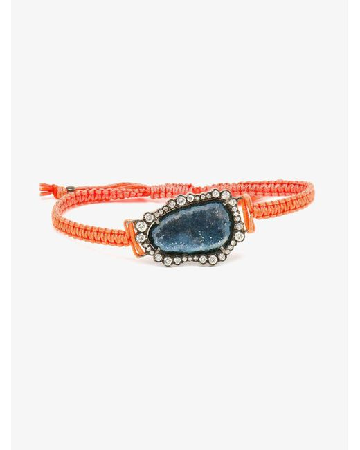 Kimberly Mcdonald - Orange 18kt White Gold, Dark Geode And Macramé Bracelet - Lyst