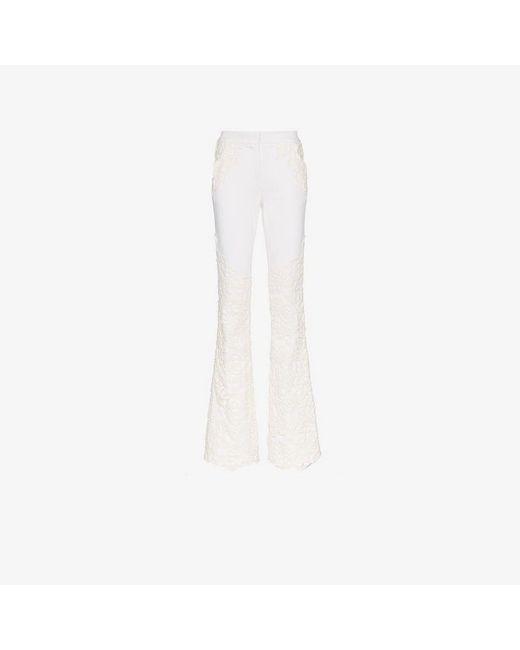 Ronald Van Der Kemp - White Lace Appliqué Flared Jeans - Lyst