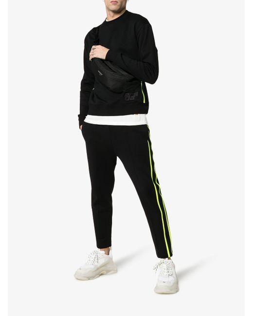 fef8ac0143b4 ... Prada - Black Striped Cropped Cotton Sweatpants for Men - Lyst ...