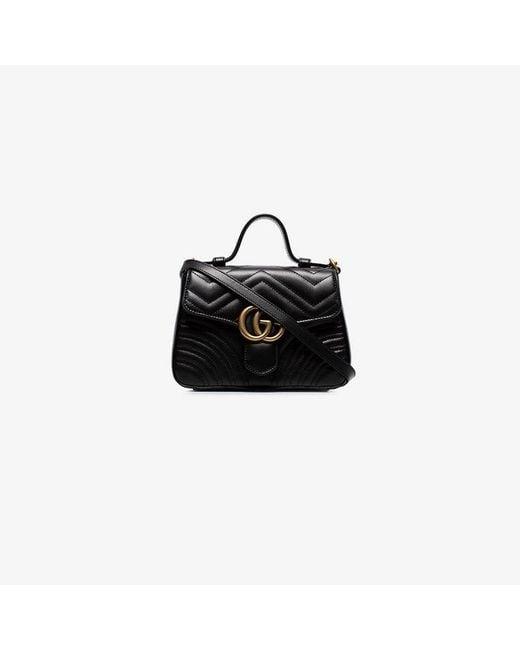 51697b4c0000 Gucci - Black GG Marmont Mini Top Handle Bag - Lyst ...
