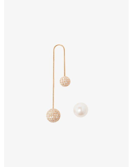 Asherali Knopfer | Multicolor 18k Gold, Diamond And Pearl Bar Earring | Lyst