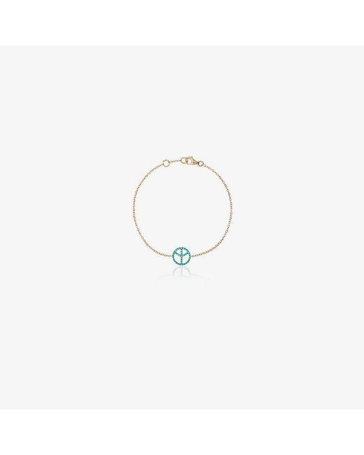 Rosa De La Cruz - Metallic 18k Gold Bracelet With Turquoise Peace Charm - Lyst