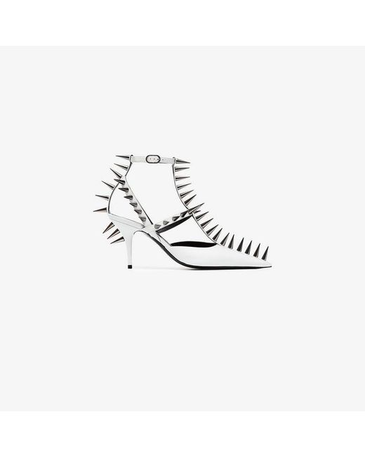 Balenciaga - White Knife 80 Spike Leather Pumps - Lyst