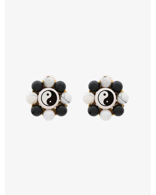 Venessa Arizaga - Black Flower Ying Yang Earrings - Lyst