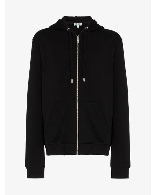 KENZO - Black Tiger Embroidered Zip Cotton Hoodie for Men - Lyst