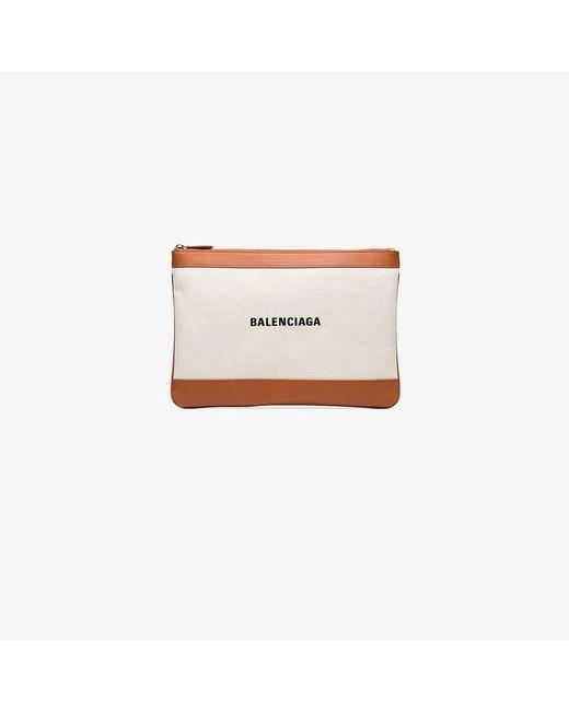 Balenciaga - Natural Orange And Cream Pochette Linen And Leather Clutch Bag - Lyst