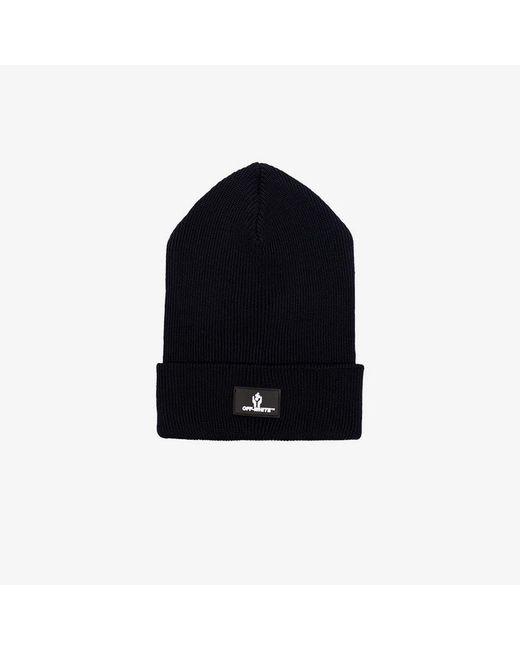 c1b3d9d0e2b Lyst - Off-White c o Virgil Abloh Black Logo Knitted Wool Beanie Hat ...