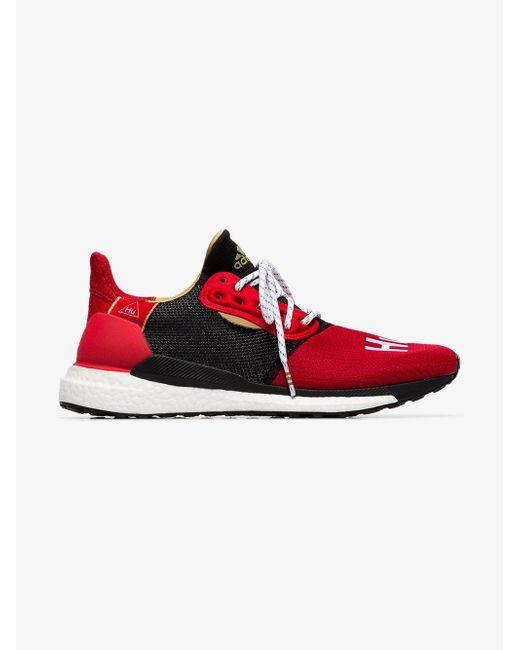 74b6cf3b840 ... Adidas - Red And Black X Pharrell Williams Solar Hu Glide St Sneakers  for Men ...