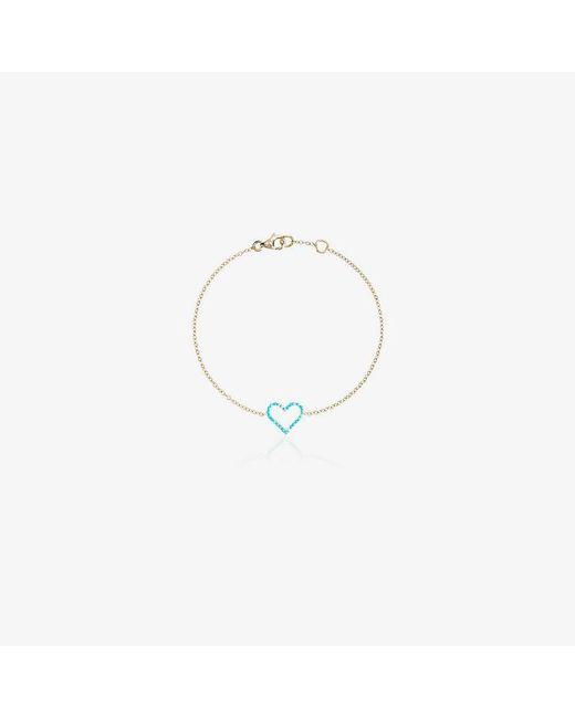 Rosa De La Cruz - Blue Chain Heart Pendant Bracelet - Lyst