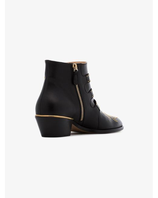 e3663cc504b Chloé Black Susanna 30 Studded Ankle Boots in Black - Save 62% - Lyst
