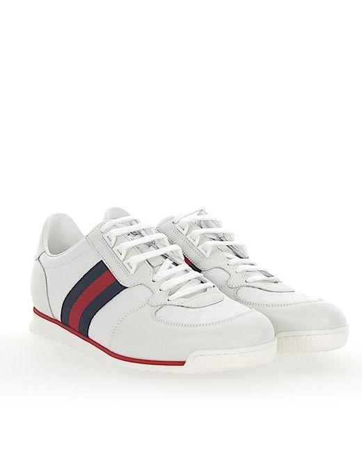 Gucci - White Sneaker A9la0 Microssima Leder Weiß Web-streifen for Men - Lyst