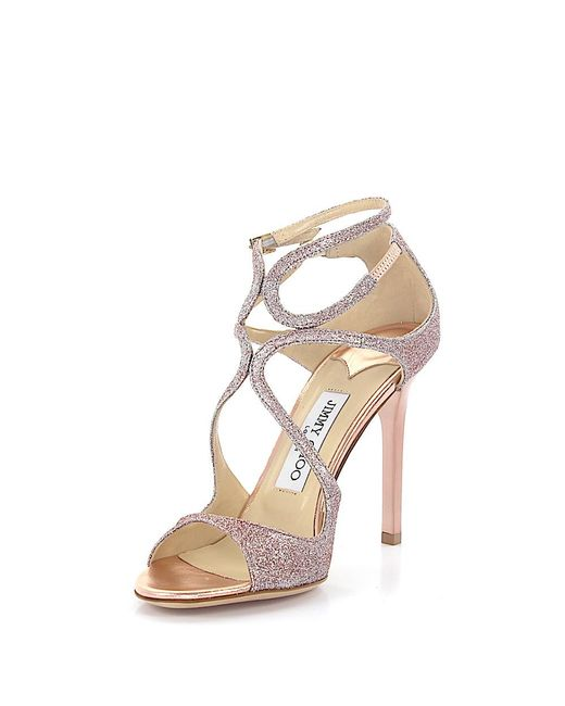 Jimmy Choo | Sandals Lang Fabric Glitter Pink | Lyst