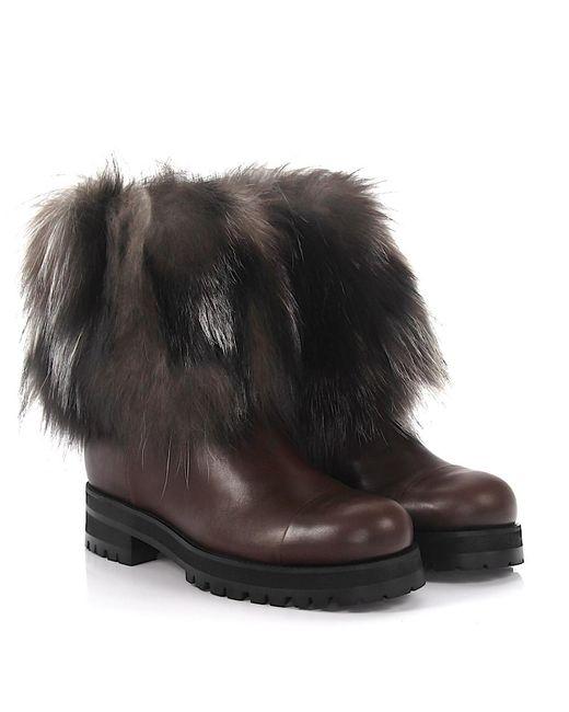 Jimmy Choo - Ankle Boots Dana Calfskin Fox Fur Fur Fur Upper Brown-combo - Lyst