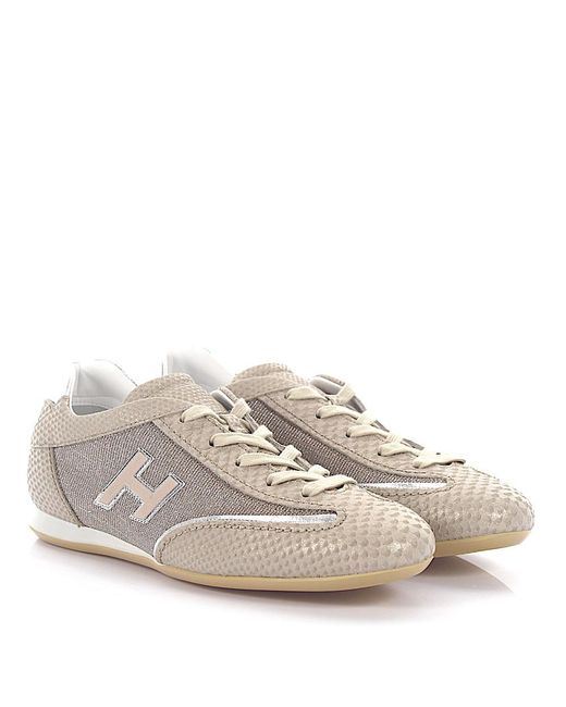 Hogan - Natural Sneaker Olympia Leather Beige Snake Embossed Fabric Glitter  - Lyst
