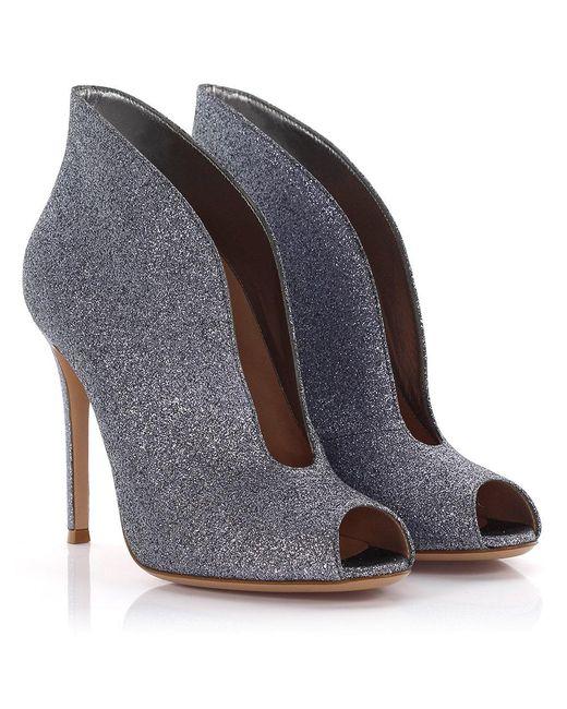 Gianvito Rossi - Gray Peeptoe Ankle Boots Vamp Silver Glitter - Lyst