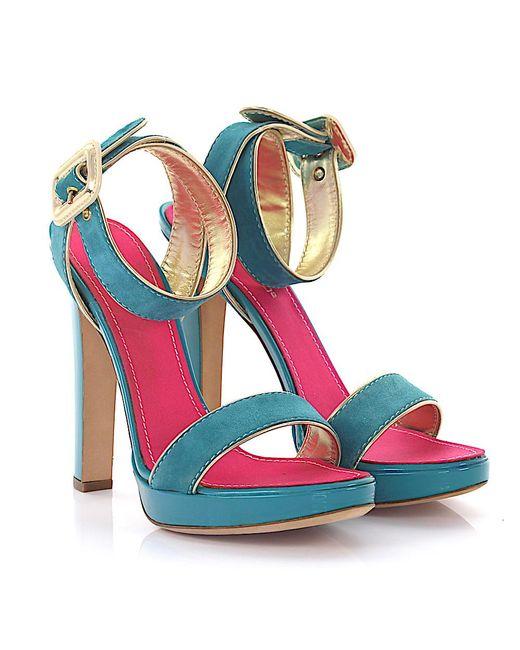 DSquared² - Blue Sandals Plateau Suede Turquoise - Lyst