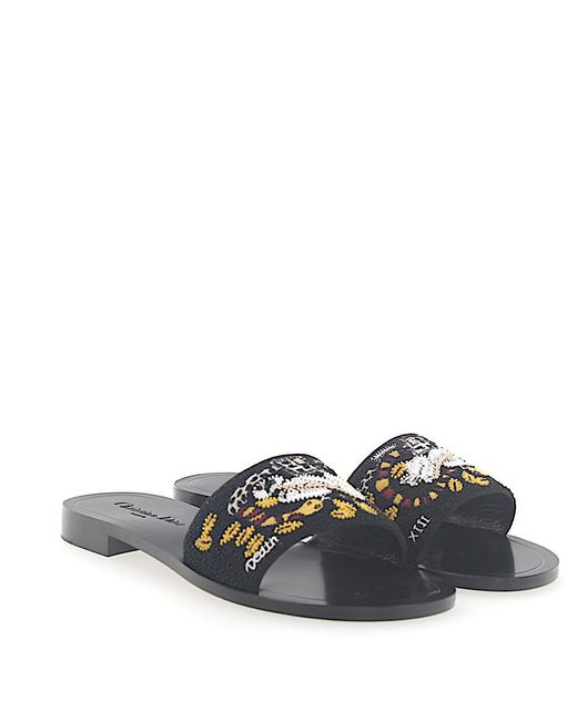 Dior - Sandals Tarot Fabric Black Embroidery - Lyst