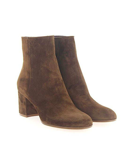 Gianvito Rossi - Natural Boots Margaux Mid Bootie Suede Brown - Lyst