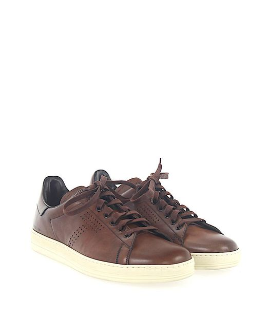 Sneaker smooth leather Hole pattern Logo brown Tom Ford rzyEdbGt1X