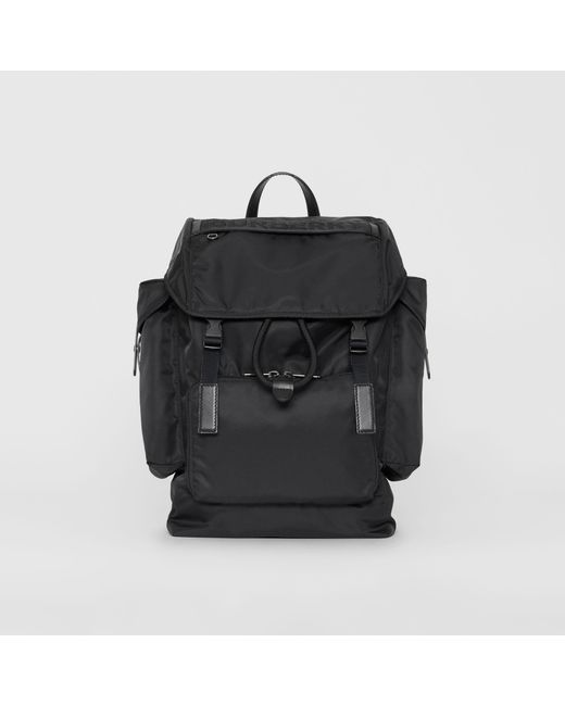 Burberry - Black Large Leather Trim Nylon Backpack for Men - Lyst ... 7bbd7727f37aa