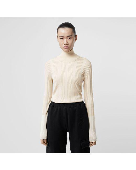f37f621b36b8 Lyst - Burberry Rib Knit Silk Turtleneck Sweater in White