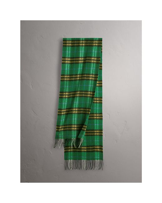 Burberry | Check Cashmere Scarf In Forest Green | | Lyst