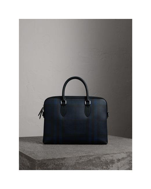 Burberry - Multicolor The Slim Barrow In London Check Navy/black for Men - Lyst