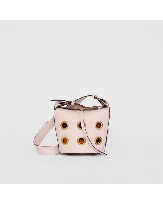 2484cabf8796 Burberry - Pink The Mini Bucket Bag In Grommeted Leather - Lyst ...