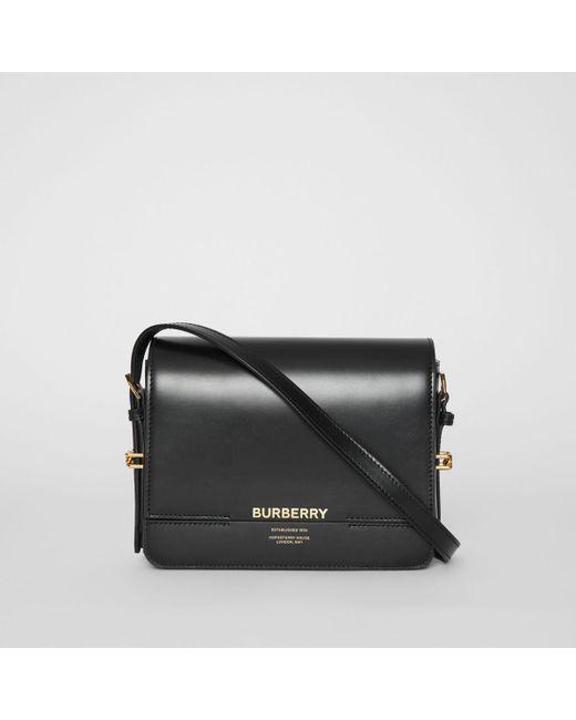 e8c99f63aeae Burberry - Black Small Leather Grace Bag - Lyst ...